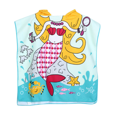 Children's Wearable Hooded Towel Mermaid