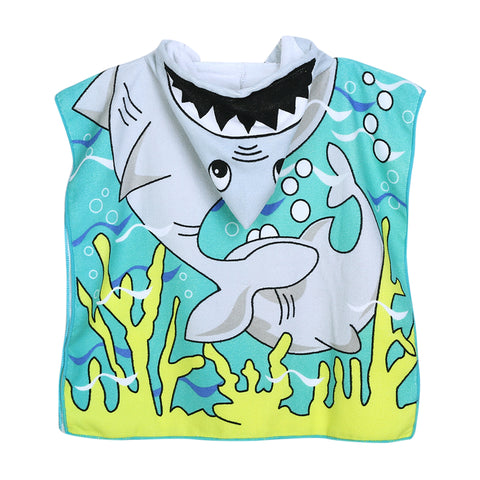 Children's Wearable Hooded Towel Shark