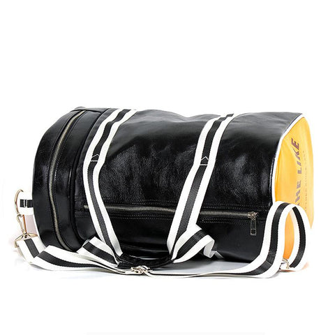 4ba3d7346398 Vintage Style Gym Bag black and yellow on side