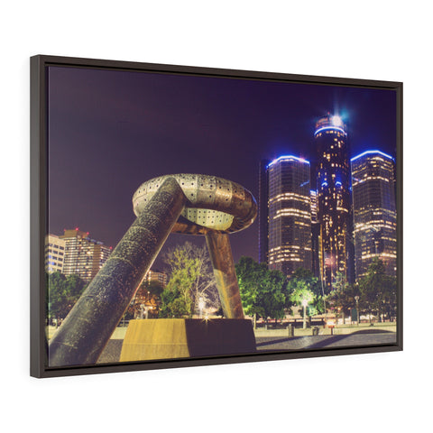 Detroit Hart Plaza Premium Framed Wall Canvas