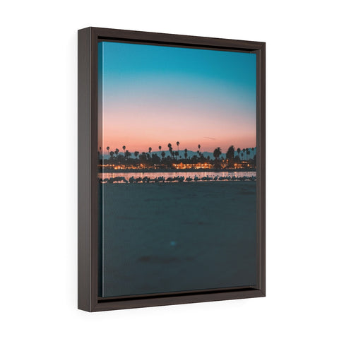 Santa Barbara Night View Premium Framed Wall Canvas