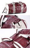 Vintage Style Gym Bag maroon different angles