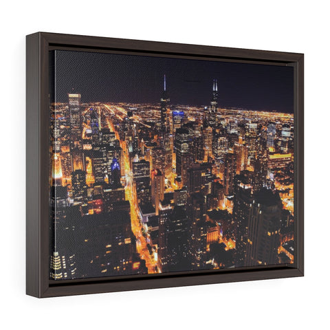 Chicago Lights Premium Framed Wall Canvas
