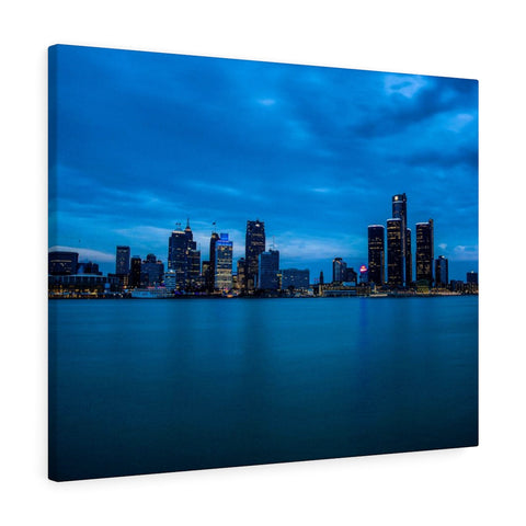 Detroit River Night View Premium Wall Canvas