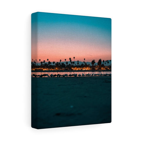 Santa Barbara Night View Premium Wall Canvas