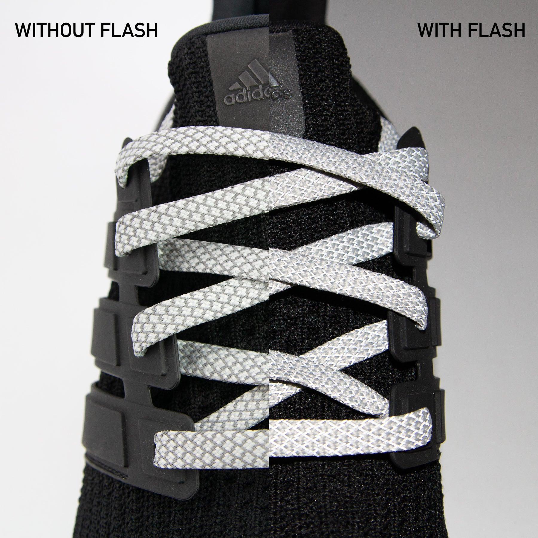 Gray 3M Reflective Flat Laces – Boosted