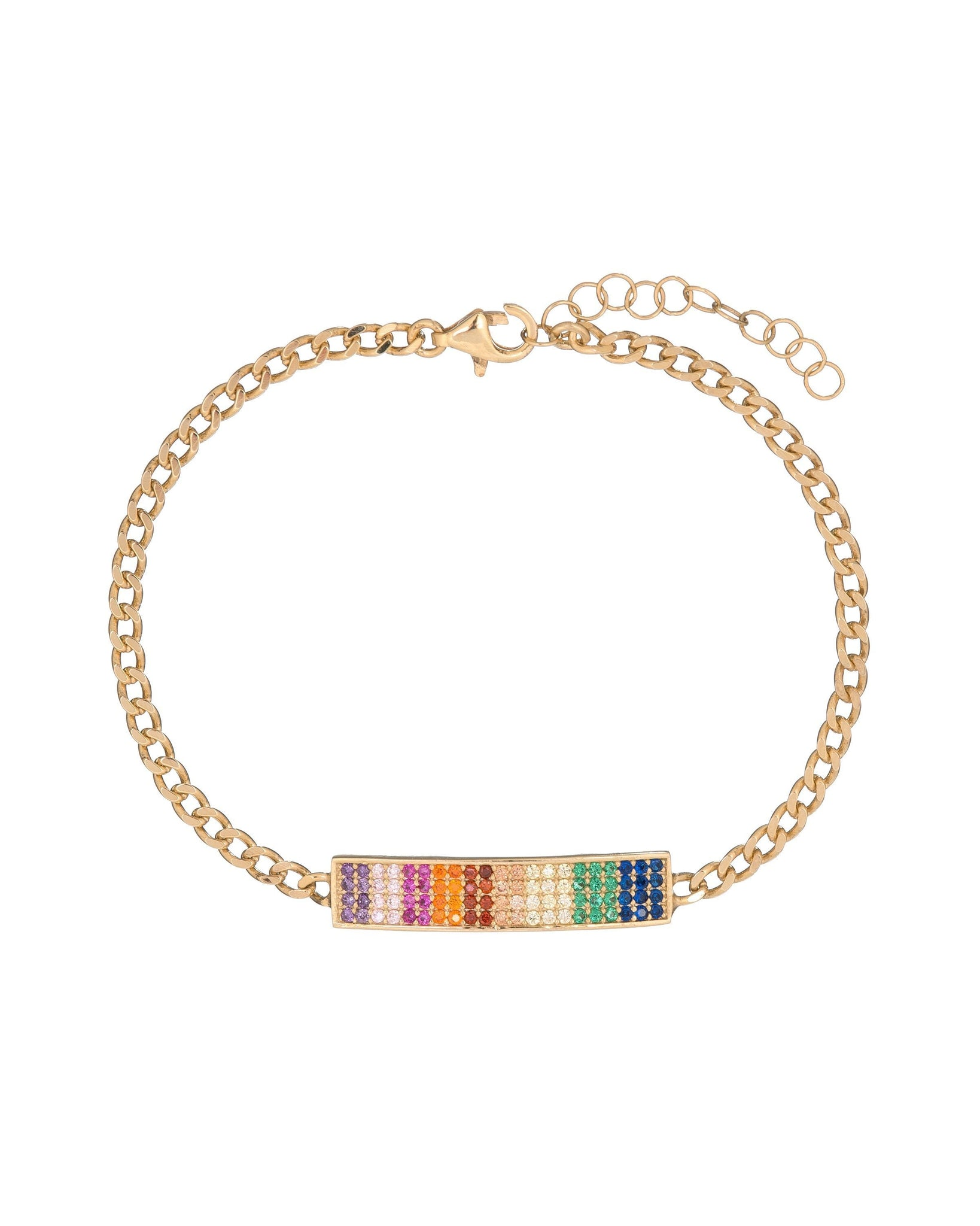 Ombre Pave Rainbow Chain Bracelet with Swarovski Crystals in 18K Gold Plated