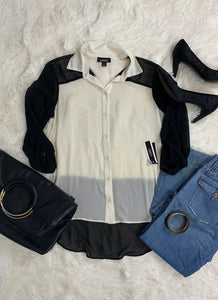 A. Byer Color Block High-low Blouse