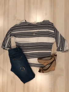 The Loft Striped Top with Dolman Sleeves