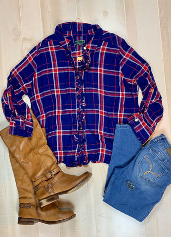 C Wonder Plaid Button-up Top