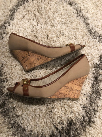 Tommy Hilfiger Wedge Peep-toe Shoes: Size 9.5