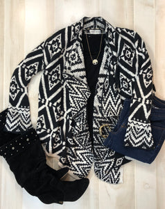 Knox Rose Ikat Pattern Waterfall Cardigan Jacket