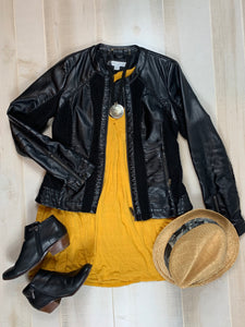 New York & Co. PU Leather and Crochet Jacket
