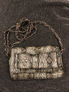 Expressions NYC Snake Skin Print Clutch w/removable Chain