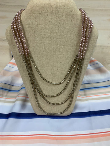 Layered Pearl & Clear Beaded Necklace