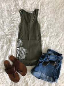 Old Navy Silver Palm Tank