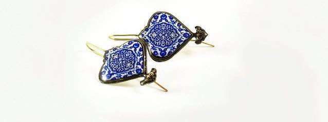 Persian pattern classic blue comfortable hook Earrings