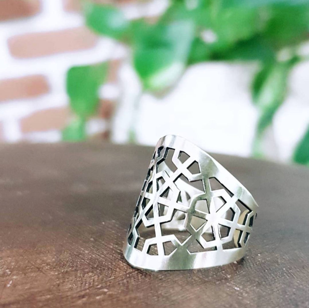 Ancient Persian Sterling Silver Adjustable statement Ring geometric  ring