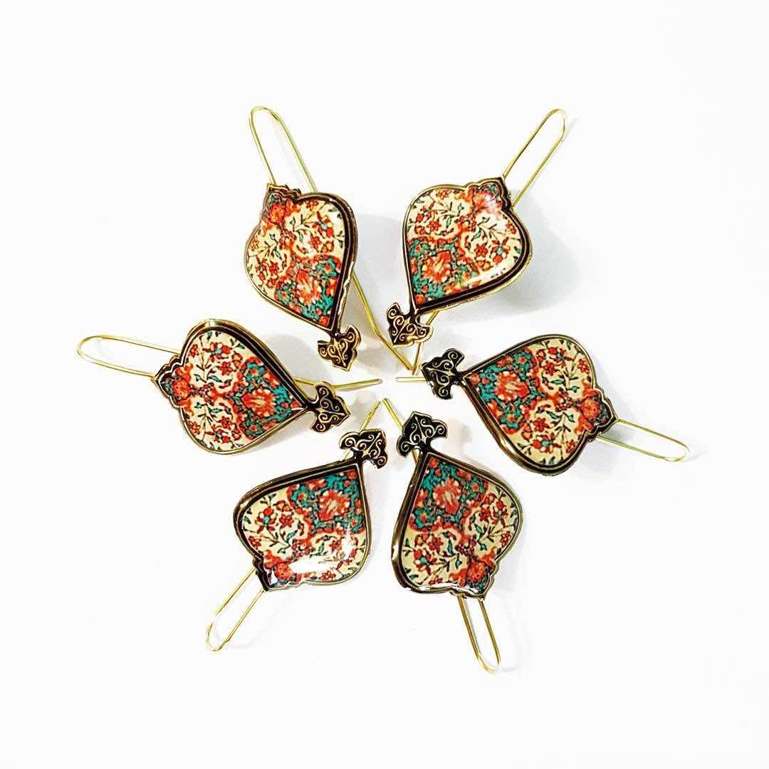 Turkish Persian design comfortable hook classic brown red pattern dangle Earrings ethnic earrings