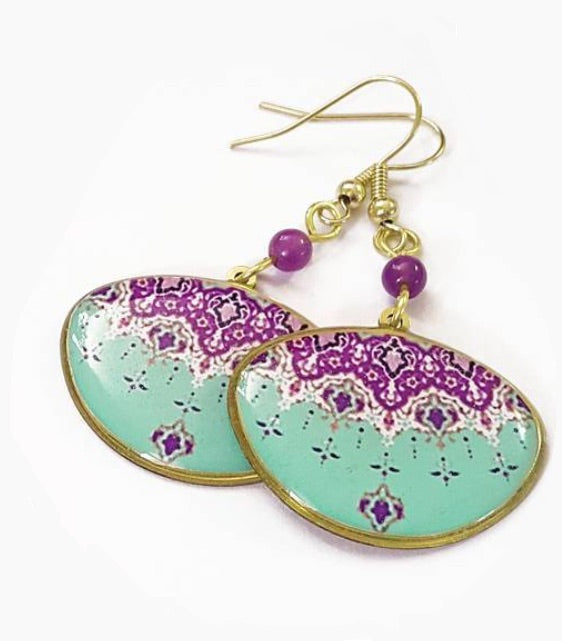 Persian turkish design purple turquoise dangle brass anti allergy coated  Earrings ethnic earrings