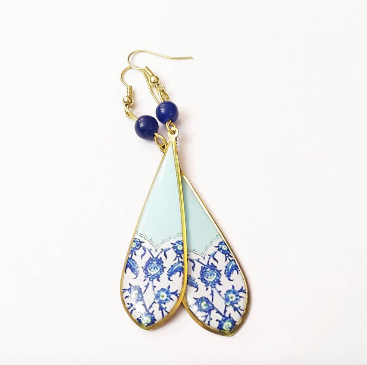 baby Blue Floral Persian Turkish Moroccan pattern Long Drop Earrings