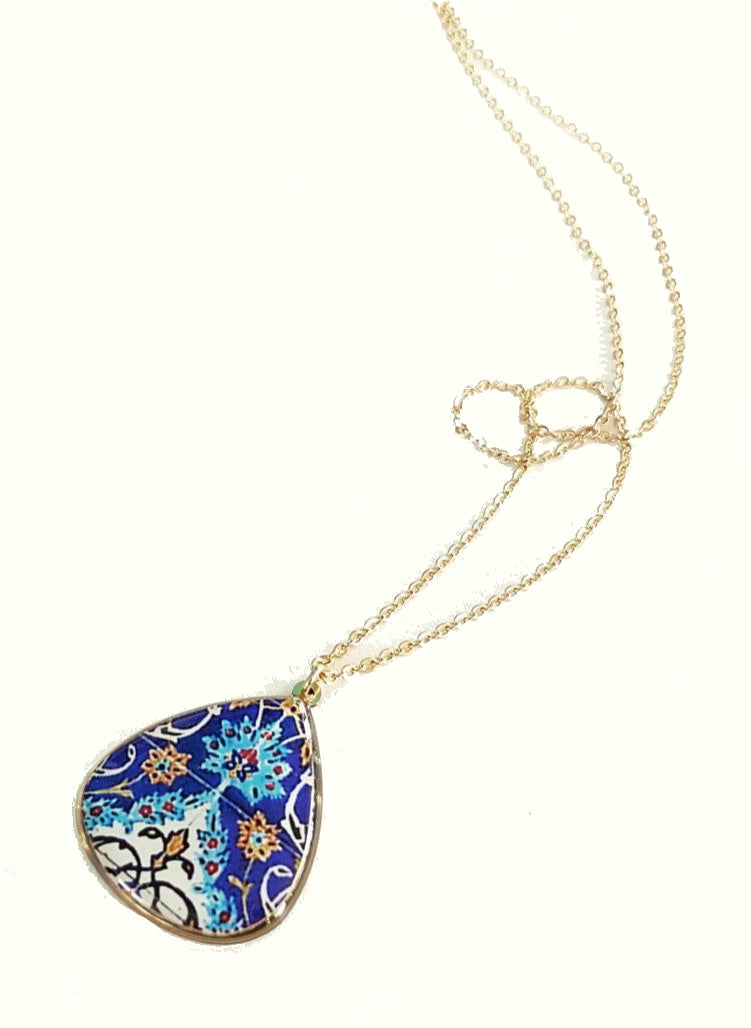 Persian Turkish pattern blue and white brass anti allergic coated dangle necklace