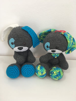 Domino Puppy Plushy in Baby green and White ears