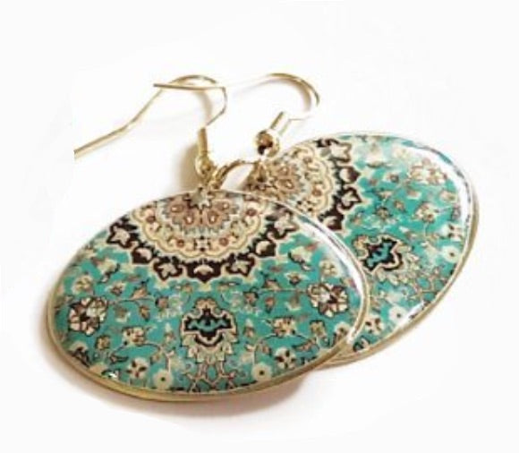 persian turkish green turquoise classic beautiful Moroccan pattern dome brass anti allergy coated dangle earrings
