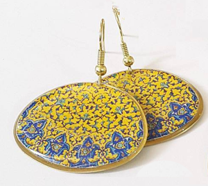Fantasy yellow blue brass statement turkish persian pattern Flowers dangle classic chic earrings