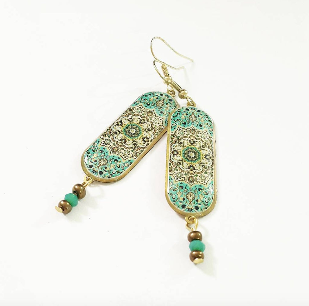 Green Turkish Persian pattern chic brass long anti allergy coated Earrings With Oriental Pattern