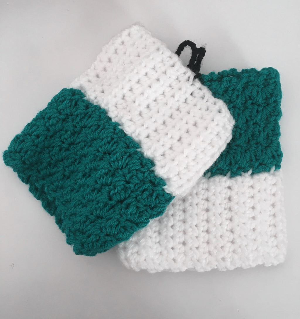 Hand-knitted Boot Cuffs In Green& White