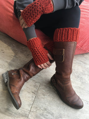 Hand-knitted Boot Cuffs and gloves In Amber