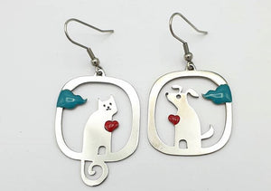 Love Kitty and puppy mismatched earrings