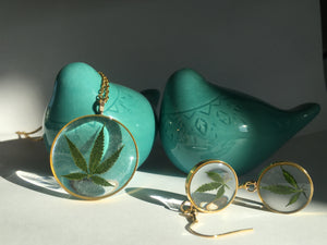 cannabis earrings and necklace