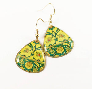 yellow green turkish persian morrocan pattern unique anti allergy coated danglebrass earrings lotus