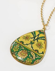 yellow green turkish persian morrocan pattern unique brass necklace lotus