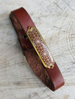 Mandala Brown leather adjustable unisex bracelet with persian turkish morrocan pattern on brass trendy indian bracelet