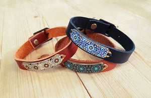 Mandala Camel Leather Bracelet With Torquiest Patterns - JewlOn