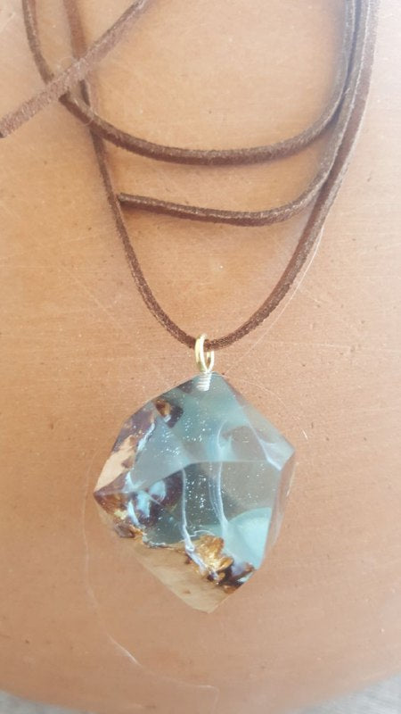 Nebula Stone resin and wood epoxy necklace pendant hippy style unconventional nature inspired
