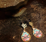 dainty Persian turkish morrocan pink and turquoise pattern with anti allergy coated brass stud chic casual classic paisley floral earrings