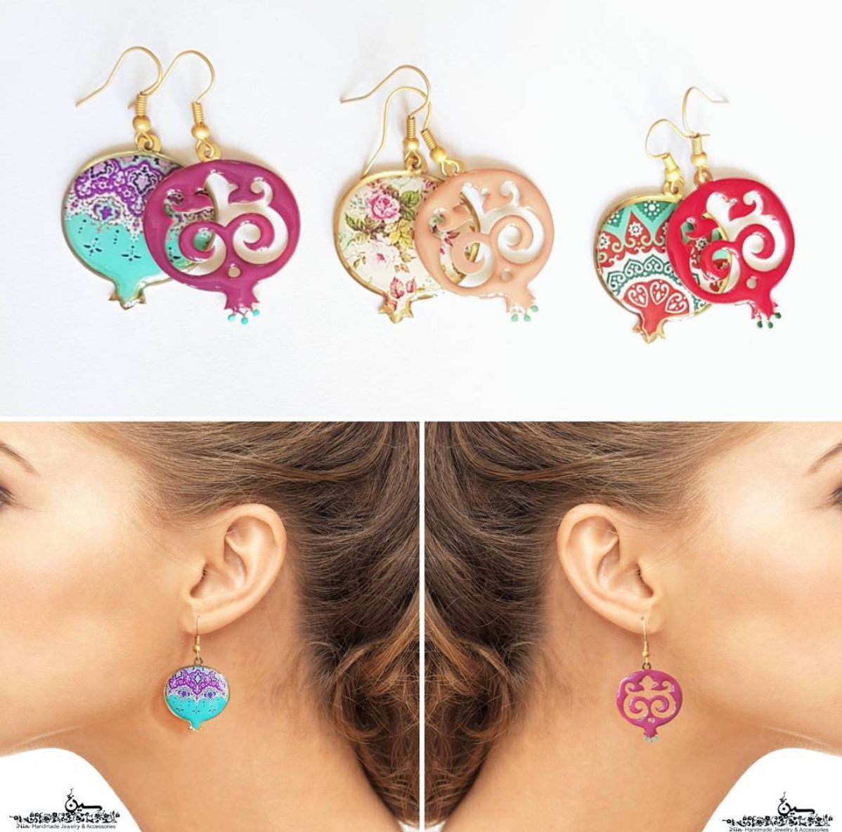 Red Mismatched Pomegranate Earrings - JewlOn
