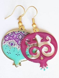 Purple Mismatched Pomegranate Earrings