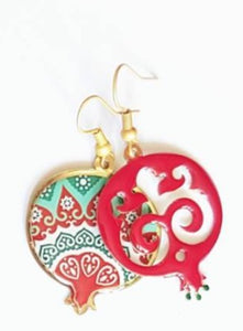 Red mismatched asymmetric pomegranate earrings indian pattern trendy summery wedding christmas earrings