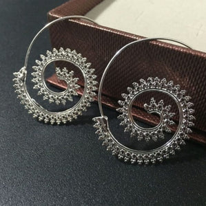 Retro Spiral Steel Hoop Earrings - JewlOn
