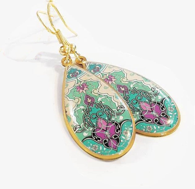 Royalty style classic royalty pattern pendant persian turkish pattern earrings