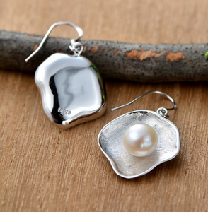 sterling Silver Pearl Drop contemporary round Earrings