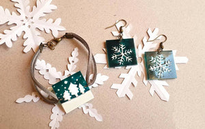 snowflake earrings and bracelet