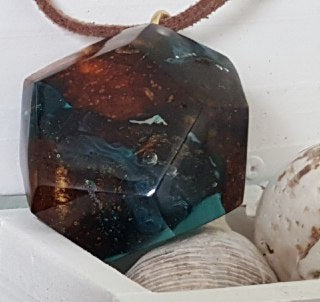 Star Stone resin epoxy crystal resin and wood star shape pendant necklace unisex masculine