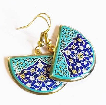 turkish persian pattern turquoise and blue half circle earrings dangle chic trendy brass earrings
