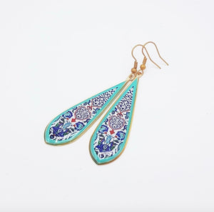 Turquoise Ottoman Long Drop Earrings - JewlOn